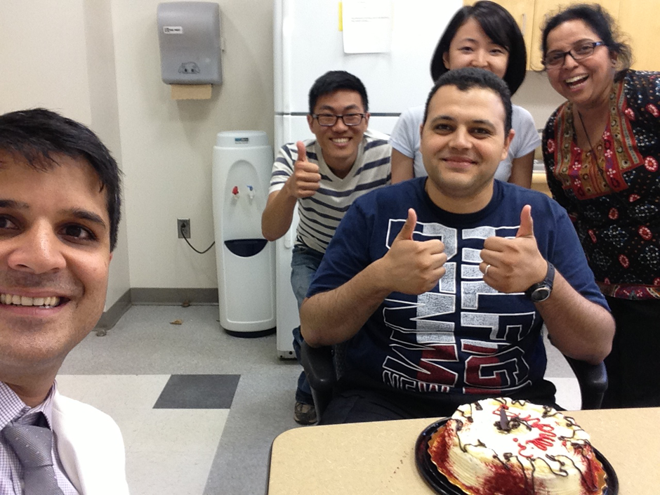 July 2013, Surprise B-day party for Bindra but Ahmed steals the cake.